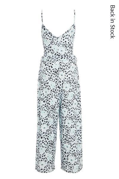 Blue Animal Print Culotte Jumpsuit